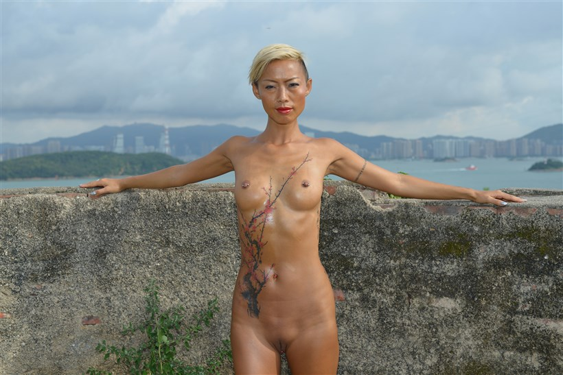 Red Dress, Big Tattoo, and Nude outdoor - lalacn- BentBox - 233,8 MB